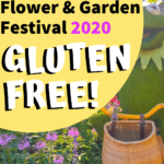 gluten free Flower and Garden Festival at Epcot pin image with Kermit Topiary