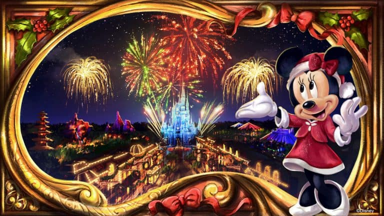 Minnie's Wonderful Christmastime Fireworks official illustration released by Disney