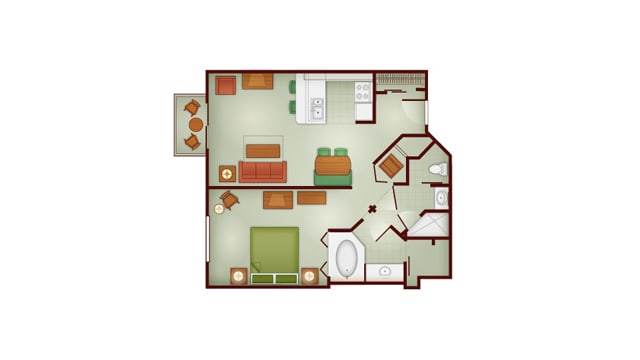 Boulder Ridge 1 bedroom floor plan at Disney's Wilderness Lodge