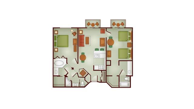 Boulder Ridge 2 bedroom villa floor plan at Disney's Wilderness Lodge