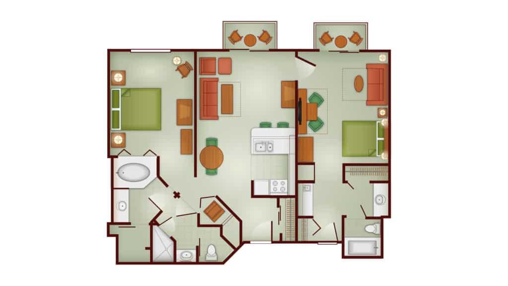 Boulder Ridge 2 Bedroom lock off floor plan at Disney's Wilderness Lodge