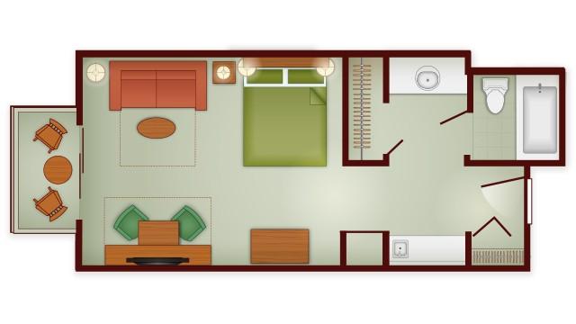 Boulder Ridge Studio floor plan at Disney's Wilderness lodge