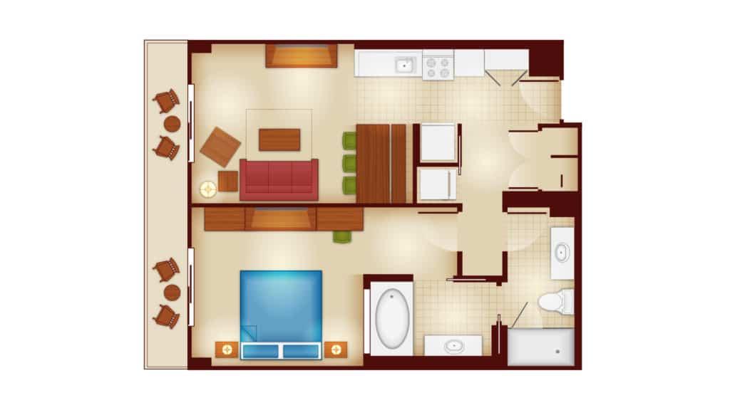Copper Creek 1 bedroom villa floor plan at Disney's wilderness lodge