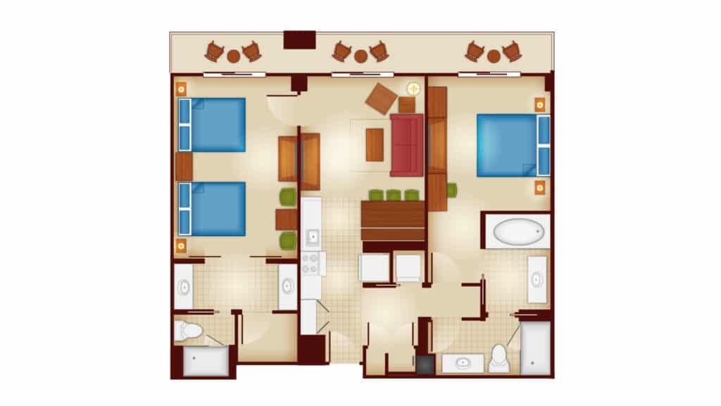 Copper Creek 2 bedroom villa floor plan at Disney's Wilderness Lodge