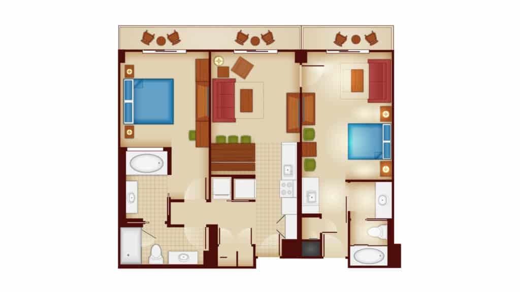 Copper Creek 2 bedroom villa lock off floor plan at Disney's Wilderness Lodge.