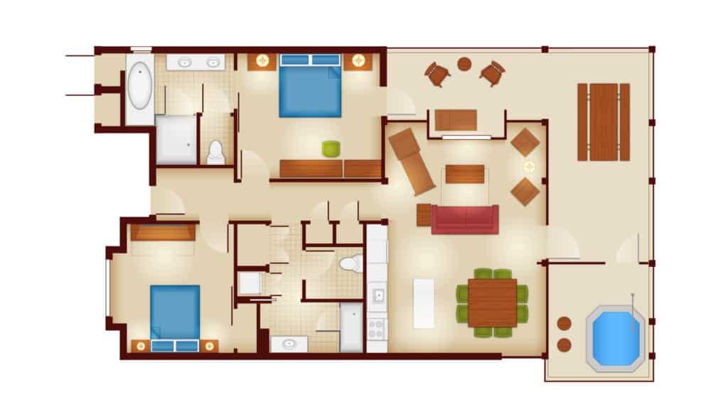 Copper Creek Cabin Floor Plan at Disney's Wilderness Lodge