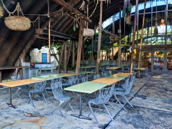Outdoor seating area at Disney's Satu'li Canteen restaurant
