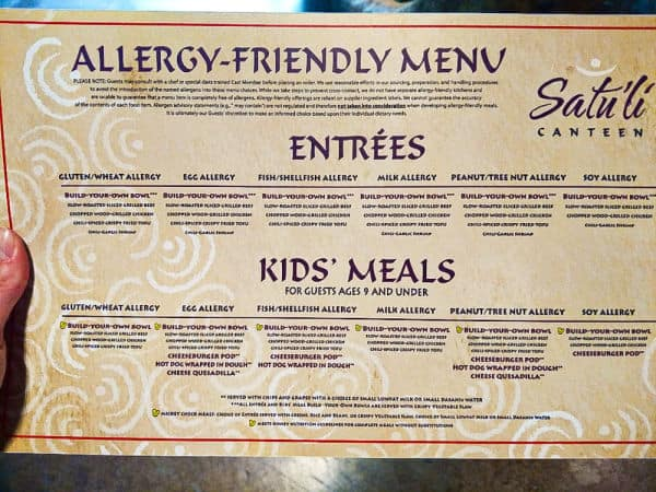 Satu'li Canteen allergy menu image