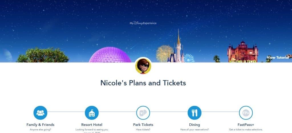 Opening screenshot in My Disney Experience