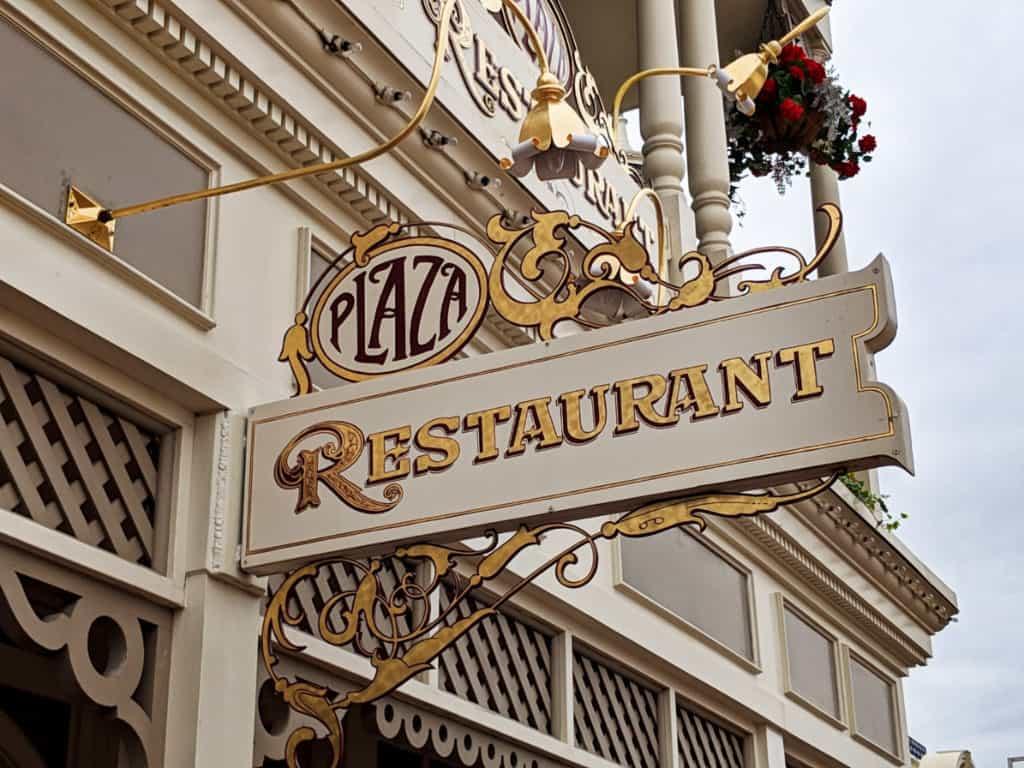 Entrance sign for Disney's Plaza Restaurant