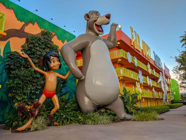 Jungle Book character statues at Disney's Pop Century Resort