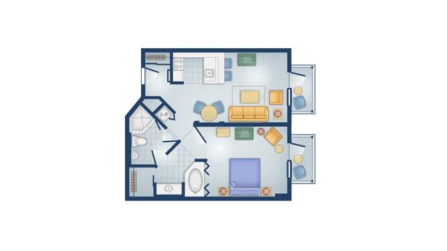 Boardwalk Villas 1 bedroom floor plan