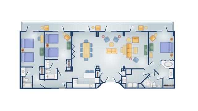 Disney Boardwalk 3 bedroom grand villa floor plan