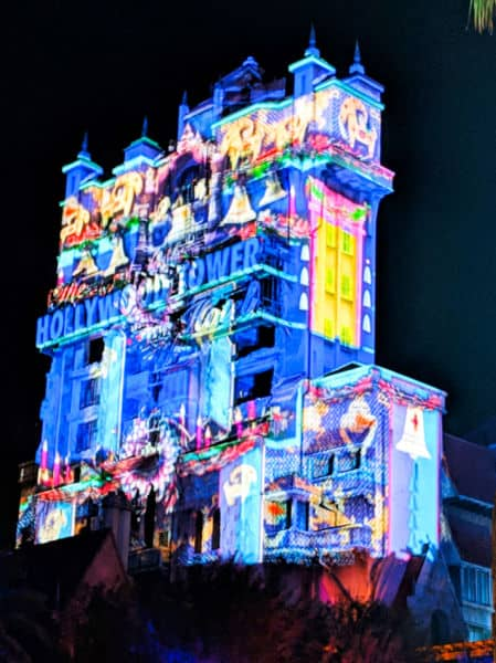 Tower of Terror with Christmas projections