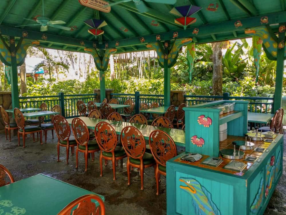 Covered seating at Flame Tree BBQ