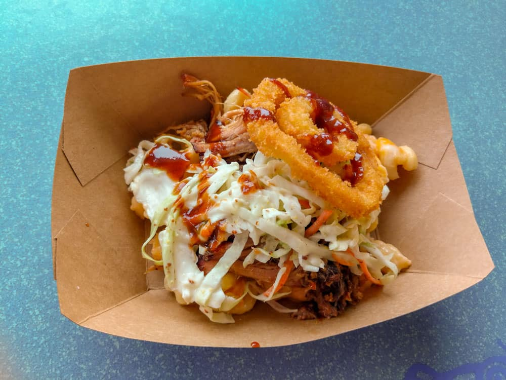 Baked Macaroni & Cheese with Pulled Pork at Flame Tree BBQ