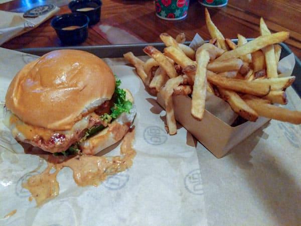 D-Luxe Burger El Diablo Burger with fries