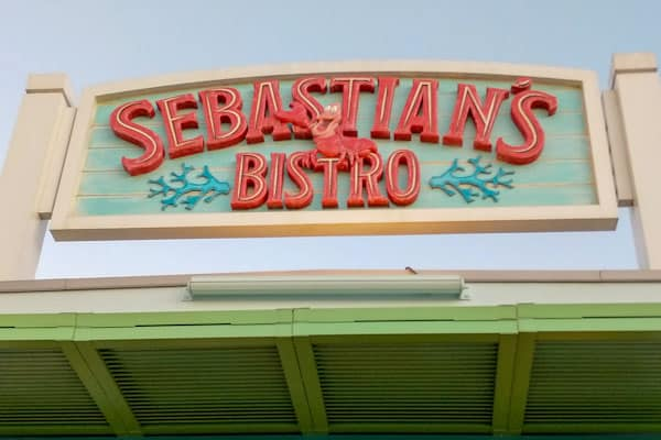 Sebastian's Bistro entrance sign at Disney World