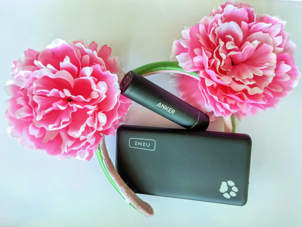 power bank for disney image with 2 chargers and pink mouse ears