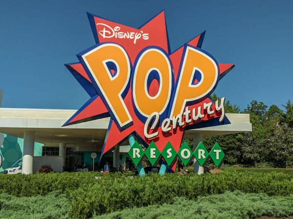 Sign for Pop Century Resort Disney World