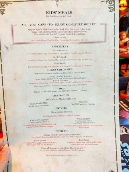 Kids' lunch allergy menu at Whispering canyon cafe