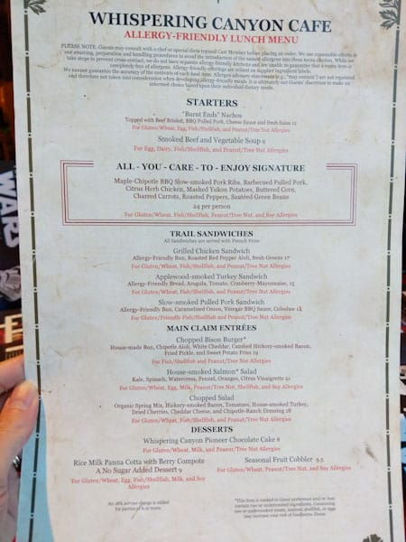 Allergy friendly lunch menu at Whispering Canyon Cafe