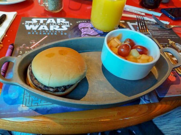 Kids hamburger at Whispering Canyon Cafe at Disney World