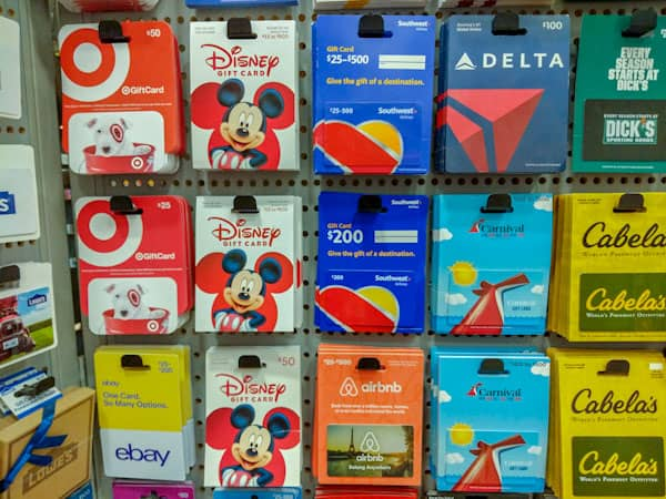 Disney gifts for mom - image of Disney gift cards in store