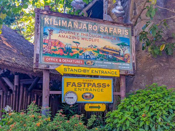 Entrance sign for Kilimanjaro Safaris at Animal Kingdom