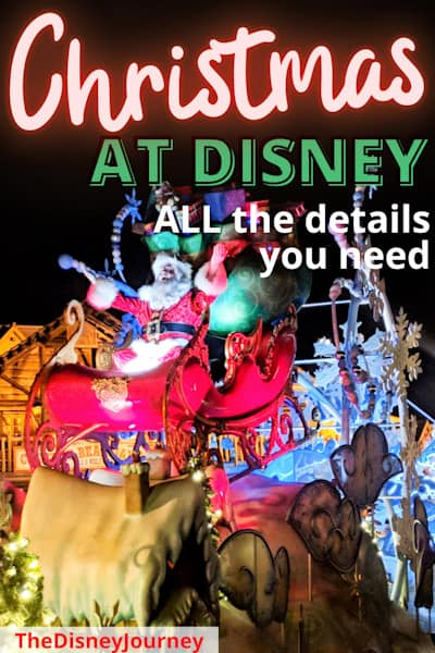 Christmas at Disney World pin image with Santa