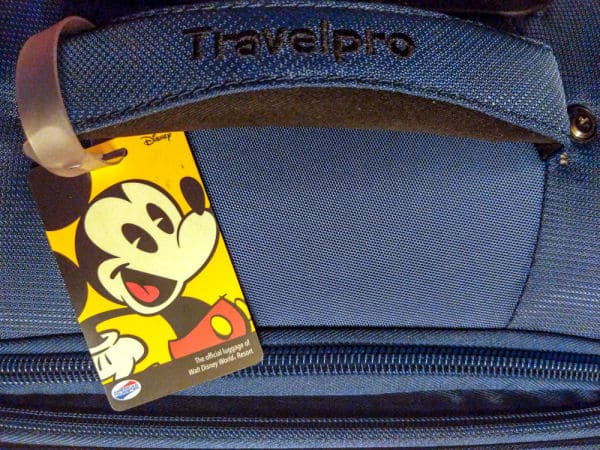 Luggage with Mickey Mouse tag