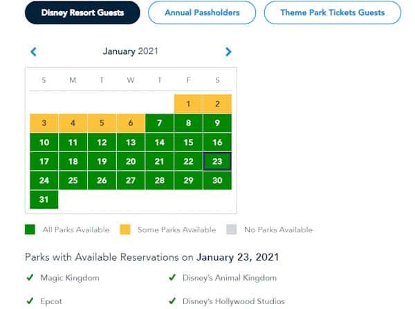Disney park pass availability calendar screenshot