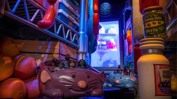 Remy's Ratatouille Adventure rat shaped ride vehicles
