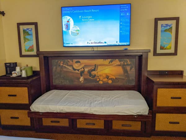 5th sleeper child size bed at Caribbean Beach Resort