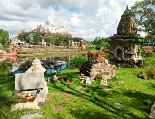 Expedition Everest in the distance, Asian relics in the foreground at Disney's Animal Kingdom