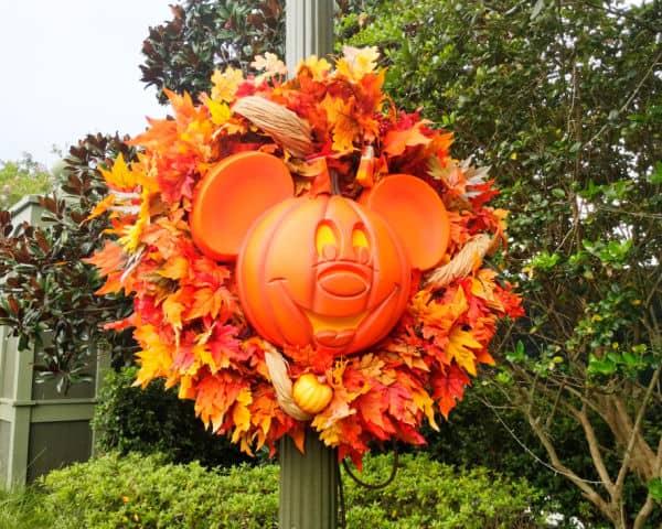 Mickey pumpkin wreath at Magic Kingdom