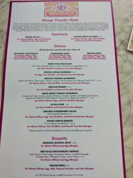 Gluten free menu at The Plaza Restaurant Disney World