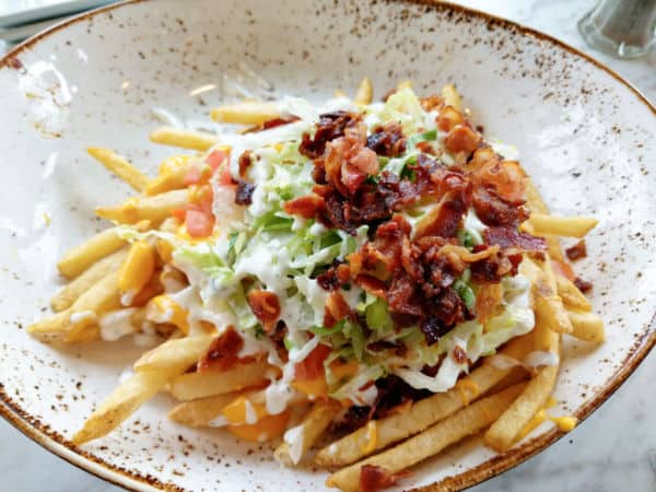Plaza Loaded Fries appetizers at Plaza Restaurant