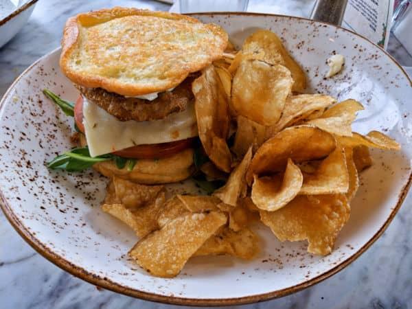 Gluten free fried green tomato sandwich at The Plaza Restaurant Disney