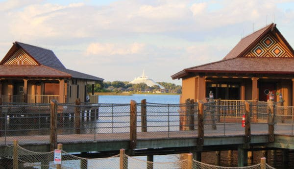 Polynesian Resort bungalows with Space Mountain in the background