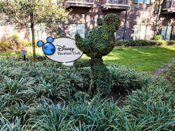 Mickey Mouse topiary holding Disney Vacation Club sign