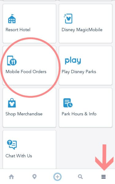 Where to find your mobile food orders on the My Disney Experience app