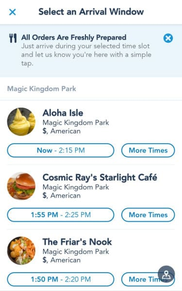 Restaurant selection page for Disney World mobile orders