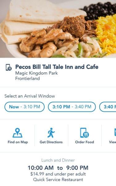 Restaurant information screenshot for Disney mobile orders