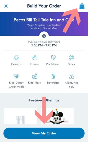 Screenshot showing how to get to final checkout on Disney mobile order