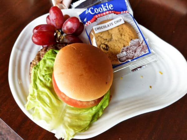 Kids Meal Hamburger with cookie and grapes at Geyser Point