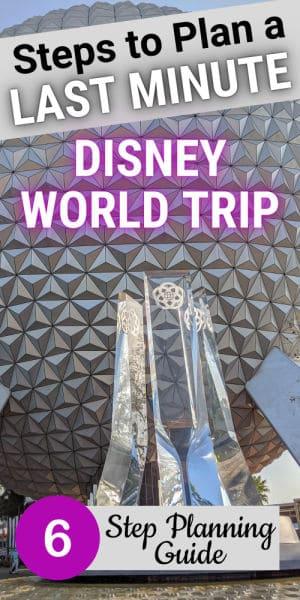 Last minute Disney trip pin image