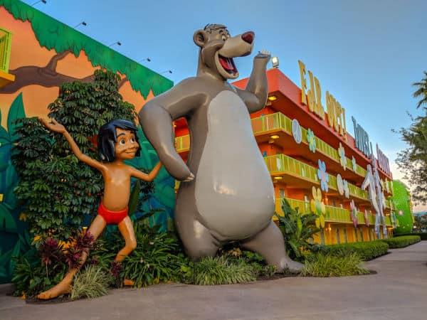 Disney's Pop Century Resort exterior statues of Mogli and Balu