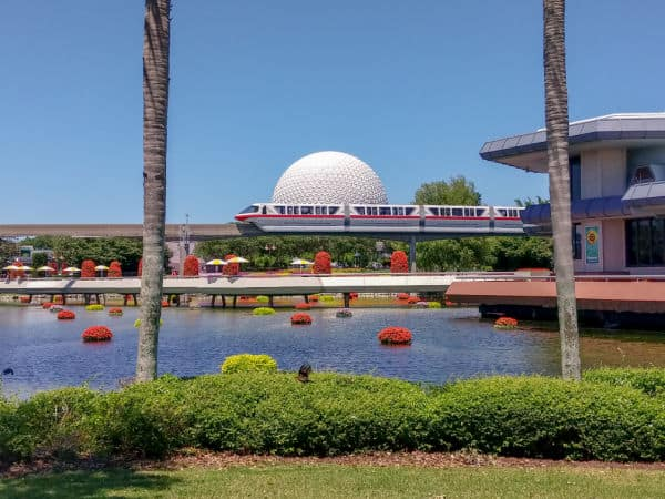 Spaceship Earth with monorail at Epcot