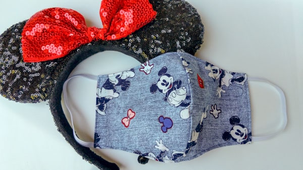 Disney face mask with sequin Minnie ears